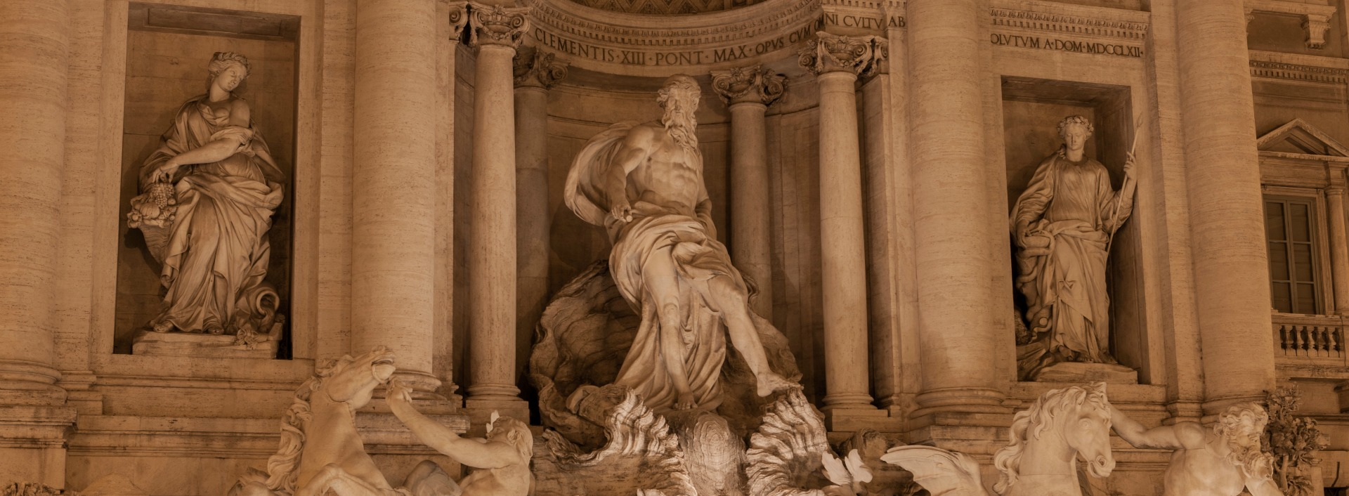 There are many common Latin words in English though you won't hear Latin spoken at the Trevi Fountain anymore!