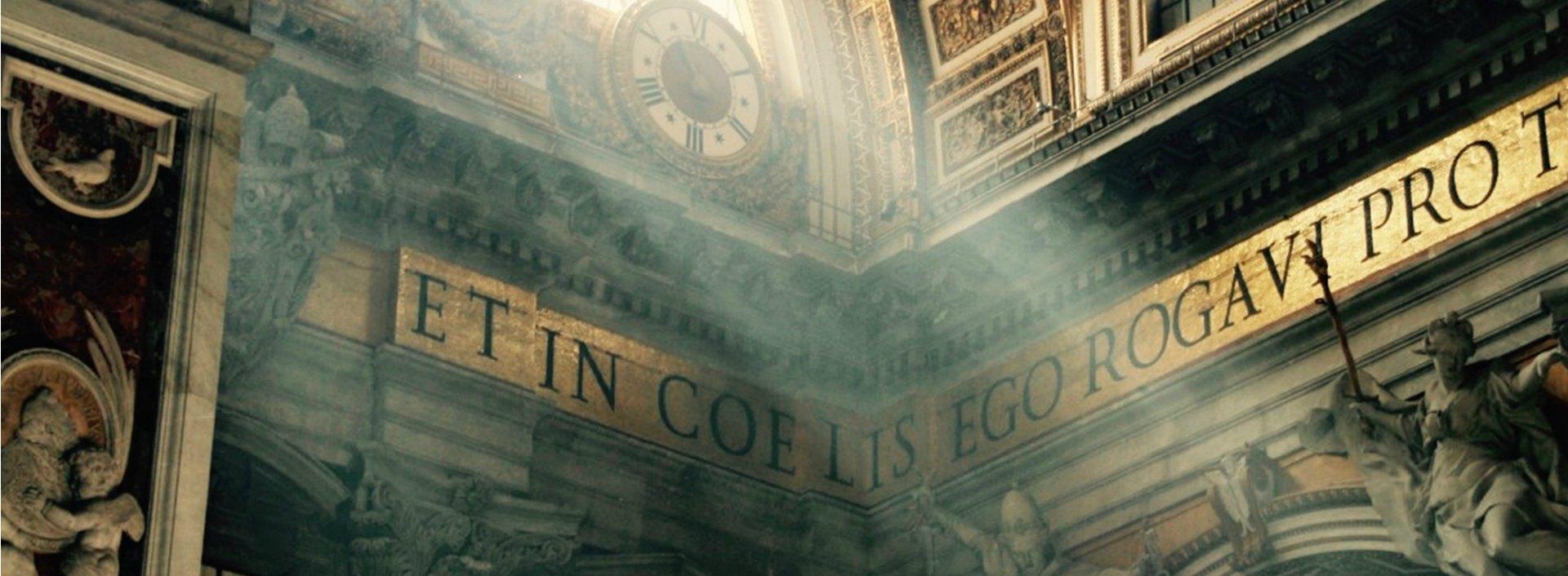 Roman church corner with Latin inscription like i.e. and e.g.