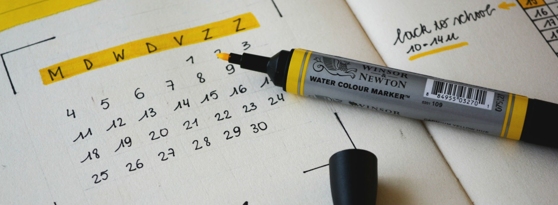 Since and For: Calendar marking dates for range or specific times.