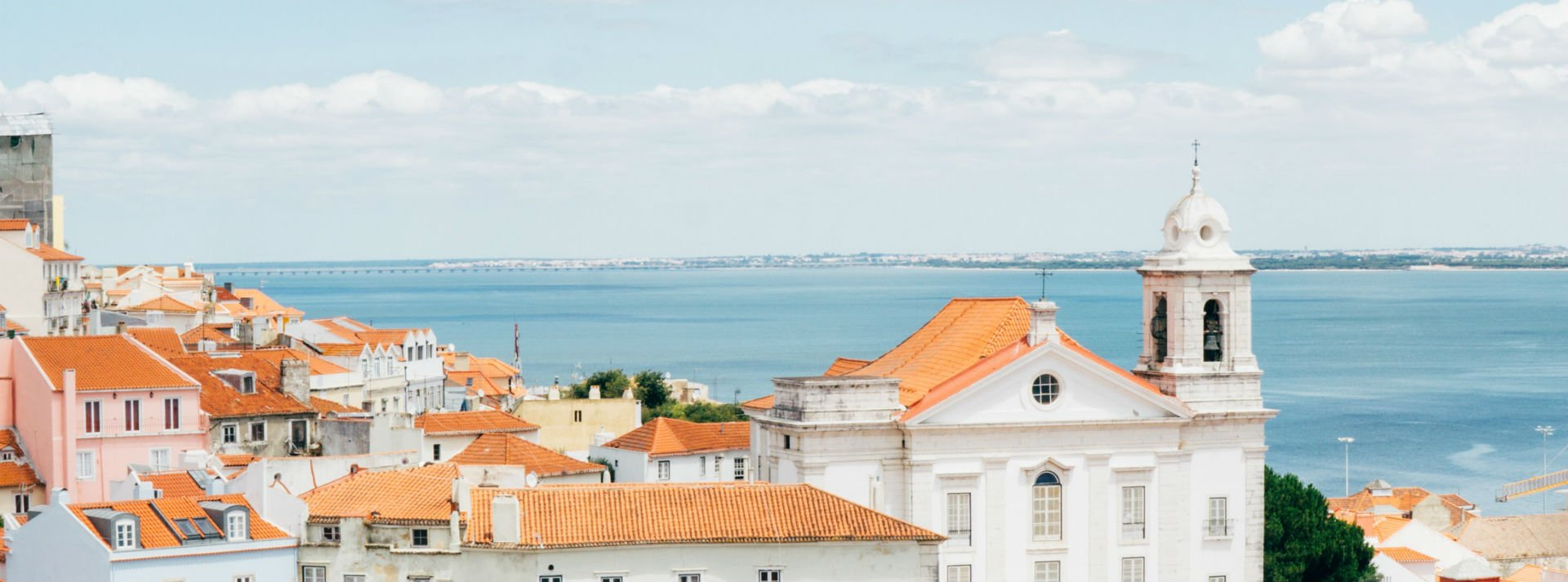 An aerial view of a city in Portugal - learn Portuguese online with Bespeaking Portuguese teachers.