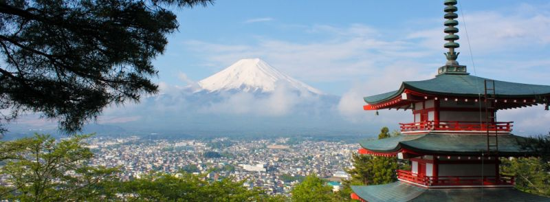 A picture of a mountain in Japan and a city in the foreground. Japanese Loan Words in English.