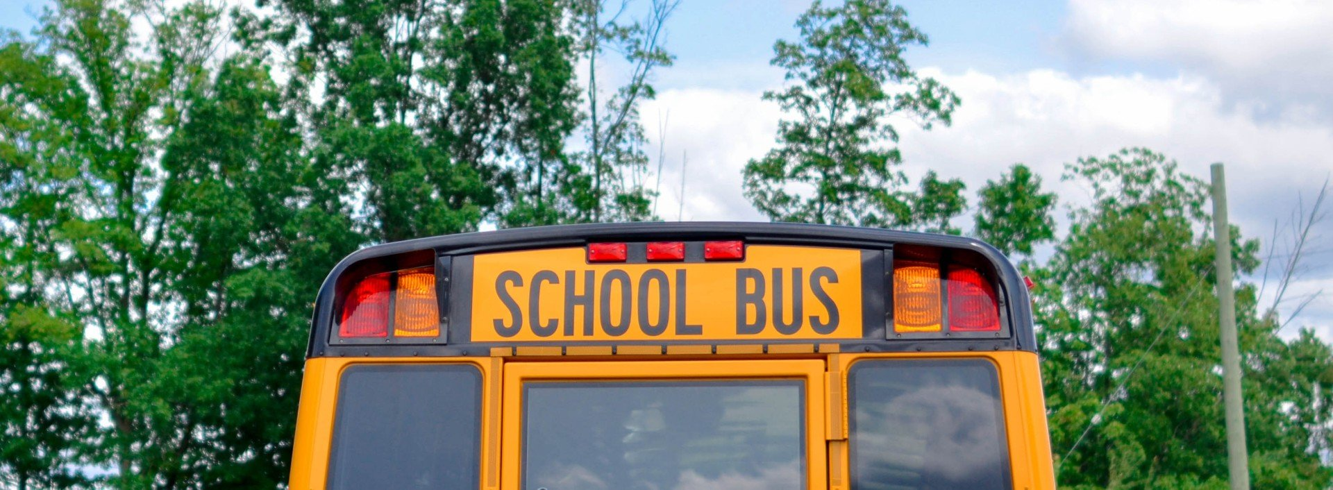 The back of a school bus driving away to school: back-to-school vocabulary
