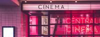 Front of the cinema with pink lights you see when going to the movies.