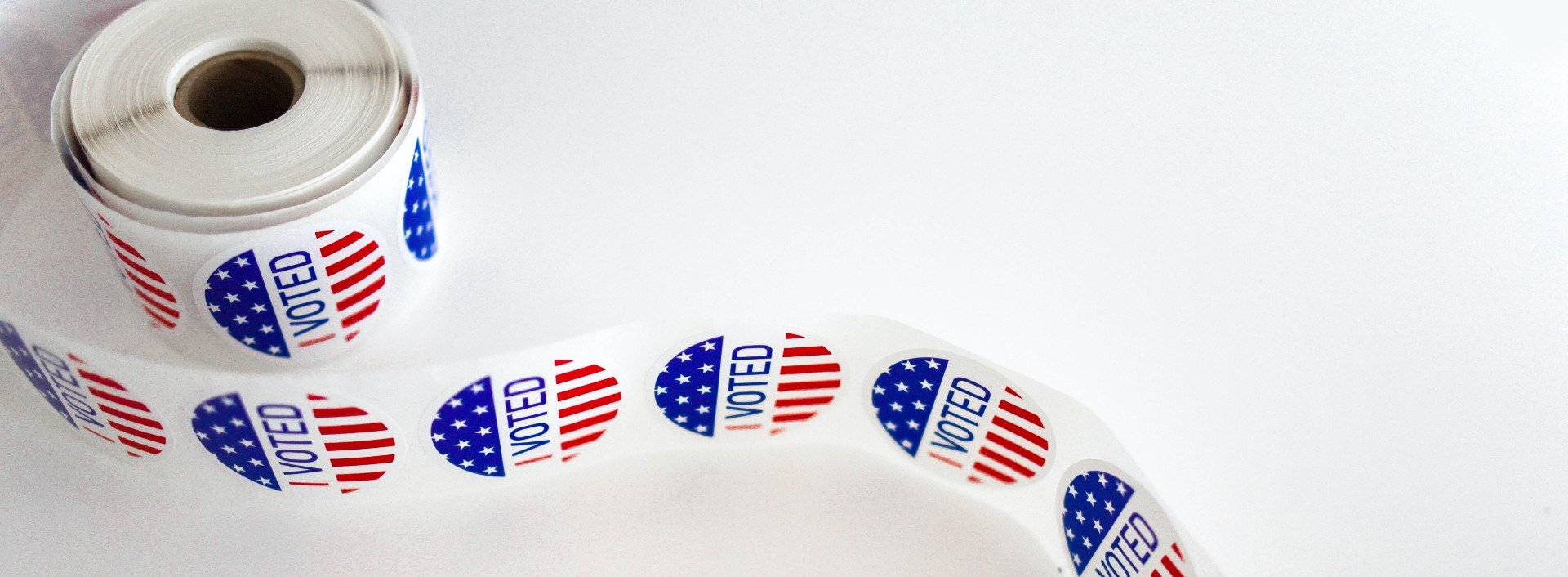"Election vocabulary: a roll of stickers saying ""I voted"" to be given out on Election Day."