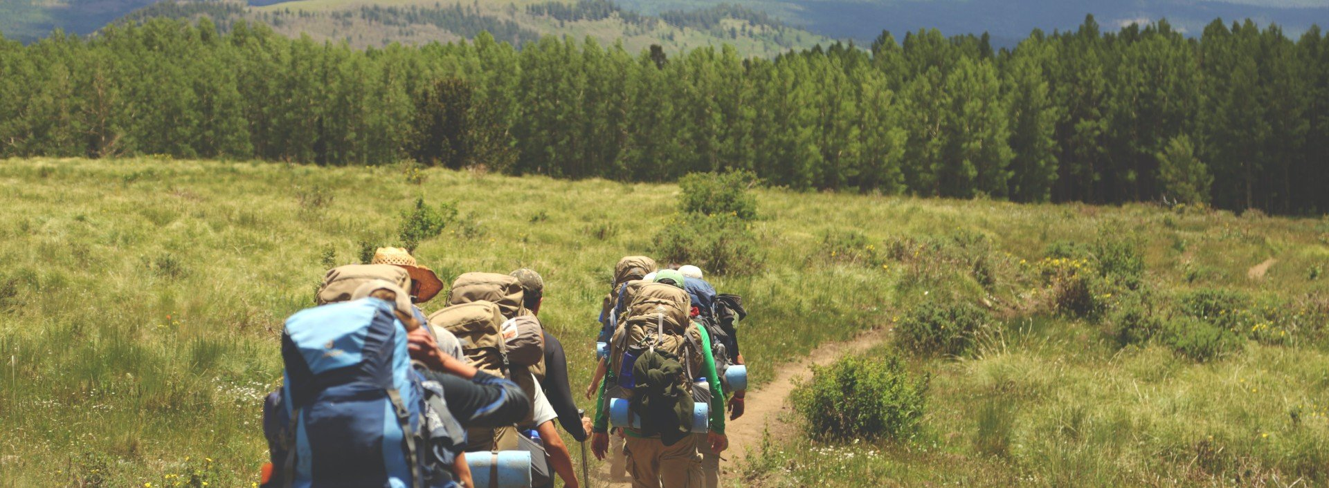 Hiking Vocabulary: A small group of hikers walk along a trail with backpacks.